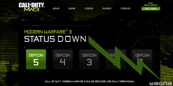 Status Down - Server call of duty mw3