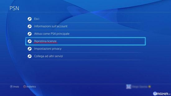 Menu Impostazioni PSN PlayStation 4 - Ripristina Licenze