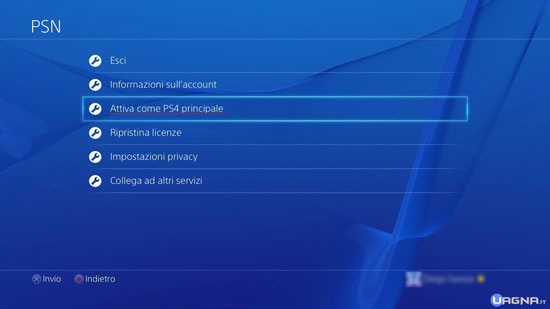 Menu Impostazioni PSN PlayStation 4 - Attiva Come PS4 Principale