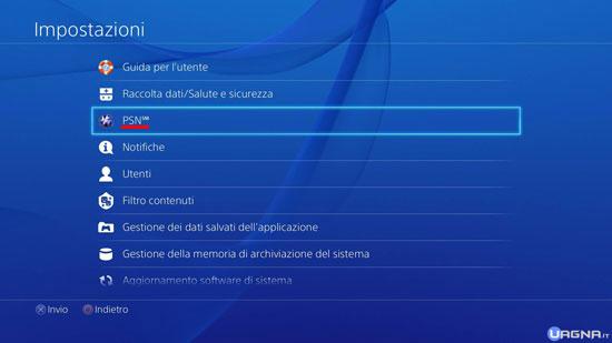 Menu Impostazioni PlayStation 4 - PSN