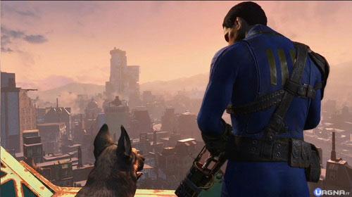 Vista panoramica di Fallout 4 con cane e personaggio principale