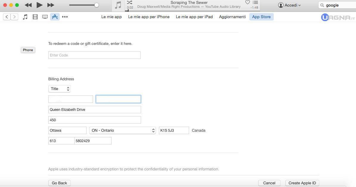 indirizzo iTunes Store Canada
