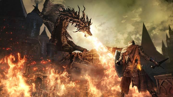 Dark Souls 3 Drago che sputa fuoco contro cavaliere