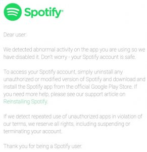 Spotify App Modificate Sospensione Account