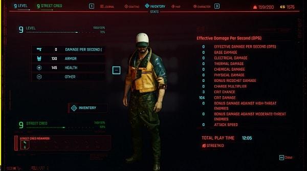 cyberpunk 2077 menù